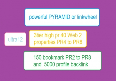 build a powerful PYRAMID or linkwheel with 3tier high PR 40 Web 2 properties PR4 to PR8, 150 bookmark PR2 to PR8 and 5000 profile backlink