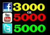 Get you 3,000 Facebook Likes OR 5,000 YouTube Views OR 5000 Twitter Followers