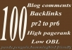 Provide 100 SEO blog comments backlinks pr2 to pr6