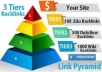 build a 3 SEO tiers backlink pyramid with PR9 to PR6 backlinks, 1000 PBN backlinks and Social Signals from PR9 networks with link juice
