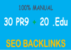 fire Your Google Ranking with 30 Pr9 + 20 Edu - Gov High PR SEO Authority Backlinks